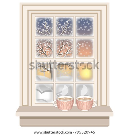 classic wooden frosted window