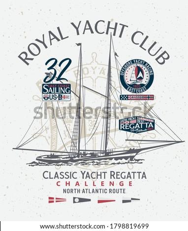 Classic yacht club sailing atlantic regatta vintage print for boy man t shirt with applique nautical badges