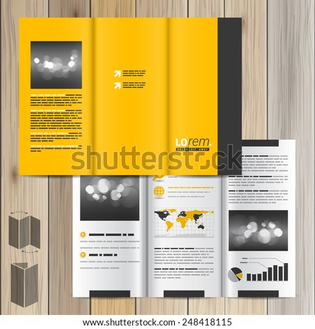 Classic yellow brochure template design with black vertical line. Cover layout #248418115