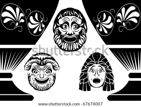 Classical Ancient Greek theatrical masks, set from three masks - stock vector