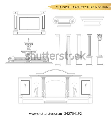 Classical architectural form drawings in set. Vector drawing design elements for classic architecture.
