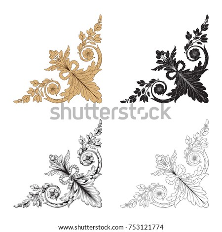 Classical baroque vector set of vintage elements for design. Decorative design element filigree calligraphy vector. You can use for wedding decoration of greeting card and laser cutting. #753121774