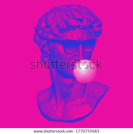 Classical bust sculpture chewing bubblegum and wearing sunglasses. 3D rendering of Michelangelo's David head in pixel art retro 8-bit style. Retrowave and vaporwave aesthetics of 80's-90's.