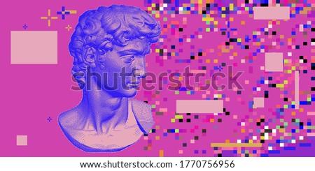 Classical bust sculpture. 3D rendering of Michelangelo's David head in pixel art retro 8-bit style. Retrowave and vaporwave aesthetics of 80's-90's.