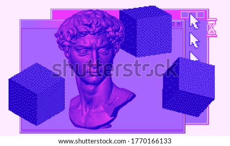 Classical bust sculpture with user interface elements. 3D rendering of Michelangelo's David head in pixel art retro 8-bit style. Retrowave and vaporwave aesthetics of 80's-90's.
