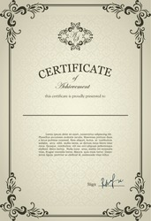 Classical Certificate with floral design ornamental elements