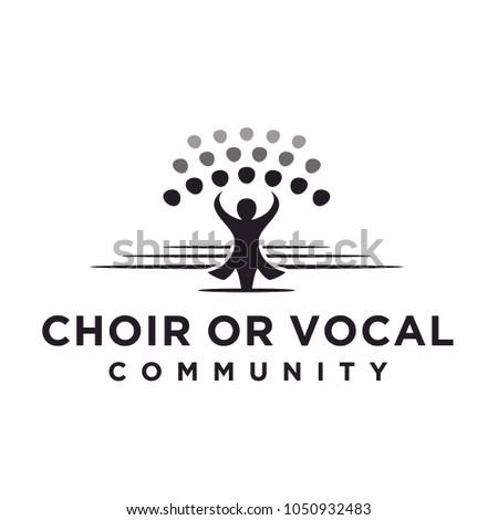 Classical Choir Chorus Vocal group perform led by a conductor, Christian Church Music Gospel logo design Stock photo ©