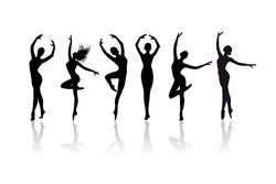 Classical dancer silhouettes. Dancing woman. Jumping and dancing ballerinas set isolated on white background.