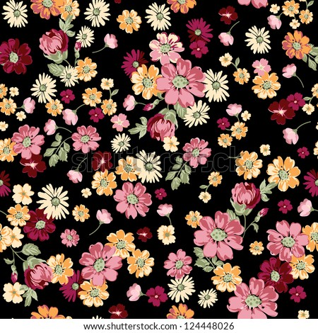classical ditsy floral seamless background - stock vector