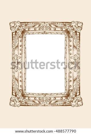 classical frame in doodle style