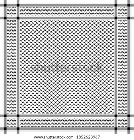 Classical keffiyeh vector pattern. Traditional Middle Eastern headdress. Arabic cotton scarf with houndstooth print and geometric motifs.