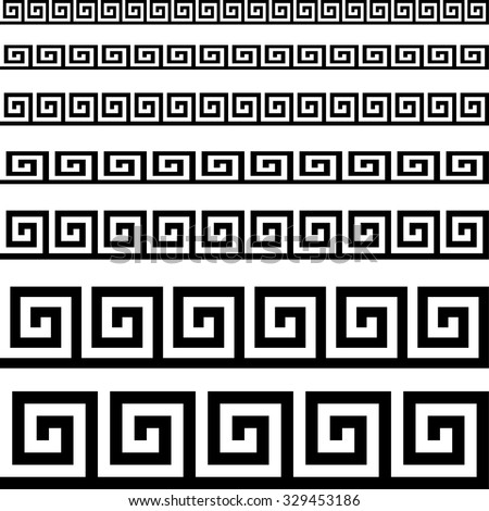 Classical meander ancient Greek pattern. Black and white. Backgrounds & textures shop.