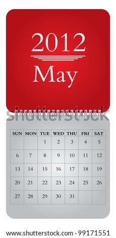 Classical monthly calendar for 2012, May - vector