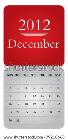 Classical monthly vector calendar for 2012,  December