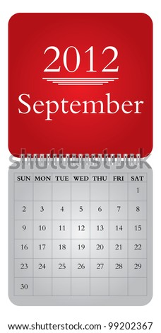 Classical monthly vector  calendar for 2012, September