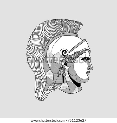 Classical Sculpture. Vector illustration hand drawn. Mythalogical helmets in rome