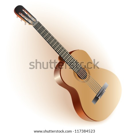 Classical Spanish guitar. Isolated on white background. Fully editable vector
