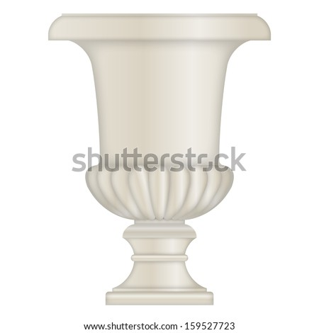 Classical stone Urn, vase, from limestone, vector eps