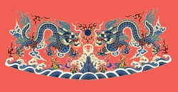 Classical traditional asian emperor blue dragons and sea