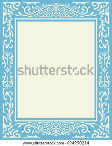 classical vintage ornament blue and cream frame #694950214
