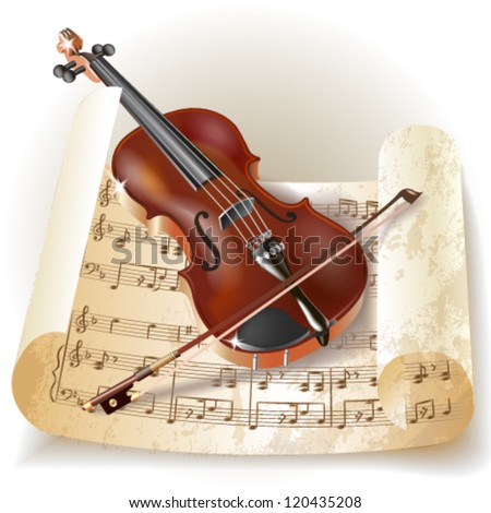 Classical violin with notes in retro style. Vector illustration.