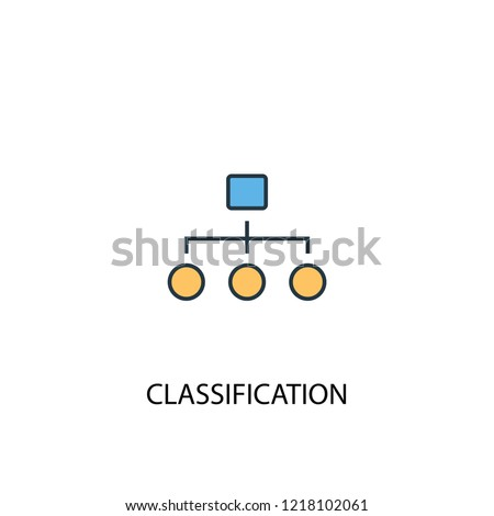Classification concept 2 colored line icon. Simple yellow and blue element illustration. Classification concept outline symbol design