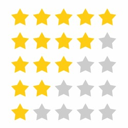 Classification Stars Rating Rate Score -  Badge Flat Colors Design Icon - Award Reward Recommended Review Film Movie TV show