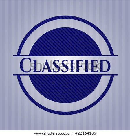 Classified emblem with jean texture