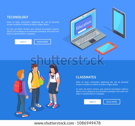 Classmates teenage students talking and modern computer technology laptop and smartphones isolated vector illustrations on blue web posters #1086949478