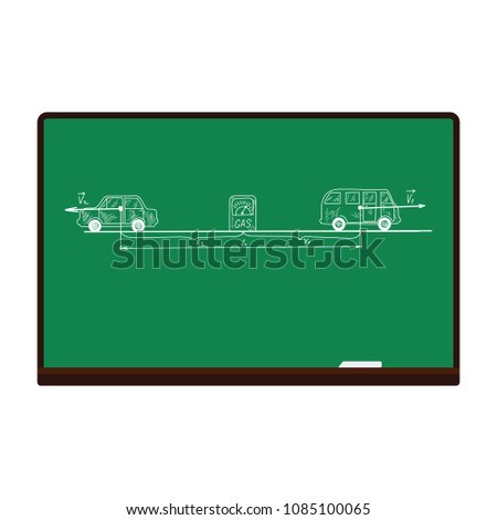Classroom blackboard icon. Flat color design. Vector illustration.