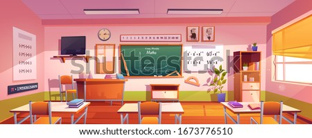 Classroom for math study with graph on chalkboard. Vector cartoon illustration of empty class interior for mathematics, geometry and algebra learning in school or college