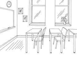 Classroom graphic black white school interior sketch illustration vector