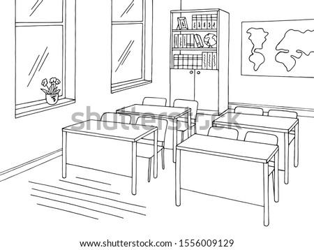 Classroom graphic black white school interior sketch illustration vector Foto stock ©