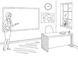 Classroom graphic black white school interior sketch illustration vector. Teacher is showing on the blackboard