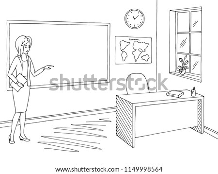 Junger Lehrer im Klassenzimmer, der eine Lektion der Mathematik gibt ...
