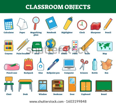 Classroom objects vector illustration. Labeled collection for kids learning and cognition process. Class indoor elements set with explanation. School things for vocabulary words knowledge development.