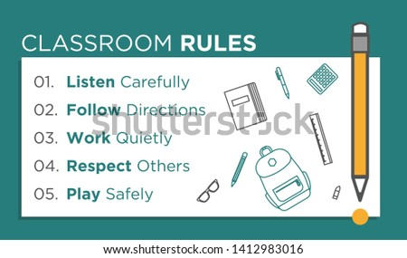 Classroom Rules. Kids Education. Vector Illustration