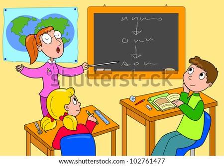 classroom teacher and pupils cartoon illustration for