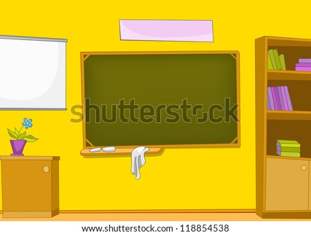 Classroom with Blackboard and School Staff. Vector Cartoon  Background.