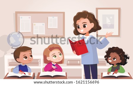 Classroom with pupils and teacher. Classroom interior.  Children listen to teacher. Primary school kids. Illustration with kids and teacher in a classroom. Education illustration. Vector interior.