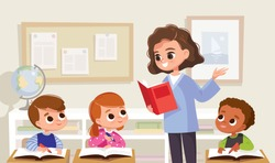 Classroom with pupils and teacher. Lesson.Teacher with pupils in a classroom. Primary school kids. Children listen to teacher. Primary school kids.