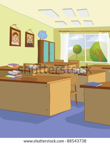 classroom with tables