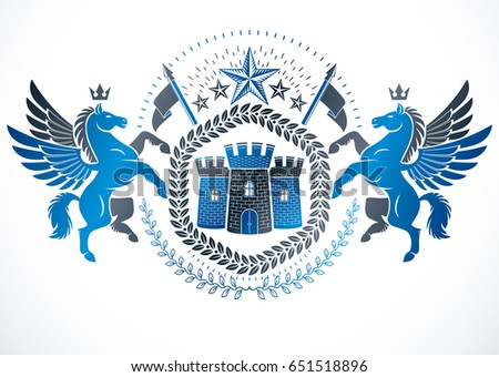 Classy emblem, vector heraldic Coat of Arms created using mythic Pegasus illustration, ancient castle and imperial crown.