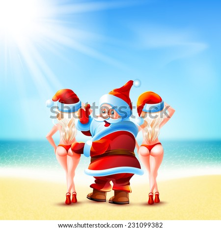claus and girls is standing on