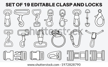 Claw clasps and carabiners  flat sketch vector illustration set, different types of clasps, buckles and carabiners for jewellery, climbing equipment, garments dress fasteners, Clothing and Accessories Stock photo ©