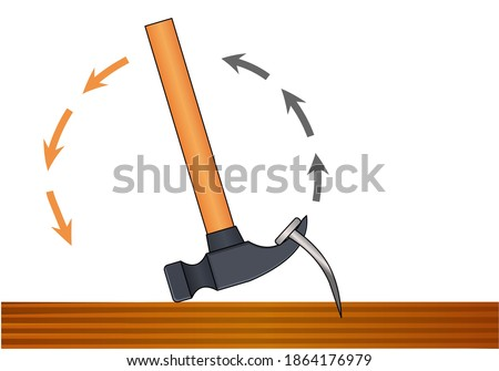 Claw hammer use. Remove the stuck nail with hammer. Unscrew nails from wood board. Science. Physics. Lever, leverage type, moment, force  power. Furniture, plumbing, home repair. Vector illustration Stock photo ©