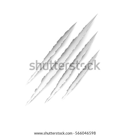 Claws animal scratches - stock vector on white background. Vector scratch set.