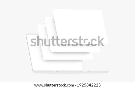 Clay Laptop Computer Mockup with Blank Wireframing Pages. Concept for Showcasing Web-Design Projects. Vector Illustration