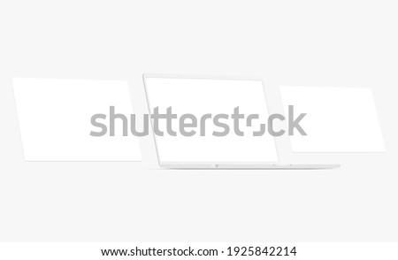 Clay Laptop With Blank Screen and Blank Web Pages. Mockup for Web-Design or Showing Screenshots. Vector Illustration