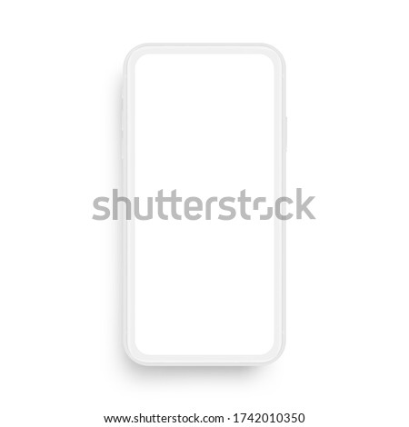Clay mobile phone mockup isolated on white background, front view. Vector illustration